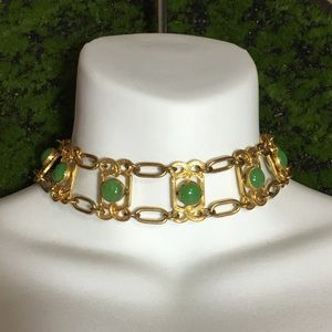 Vintage Art Deco Jade Goldtone Choker Necklace